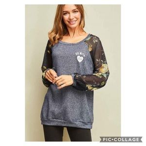 Do With Love Graphic Floral Mesh Sweater New S M L